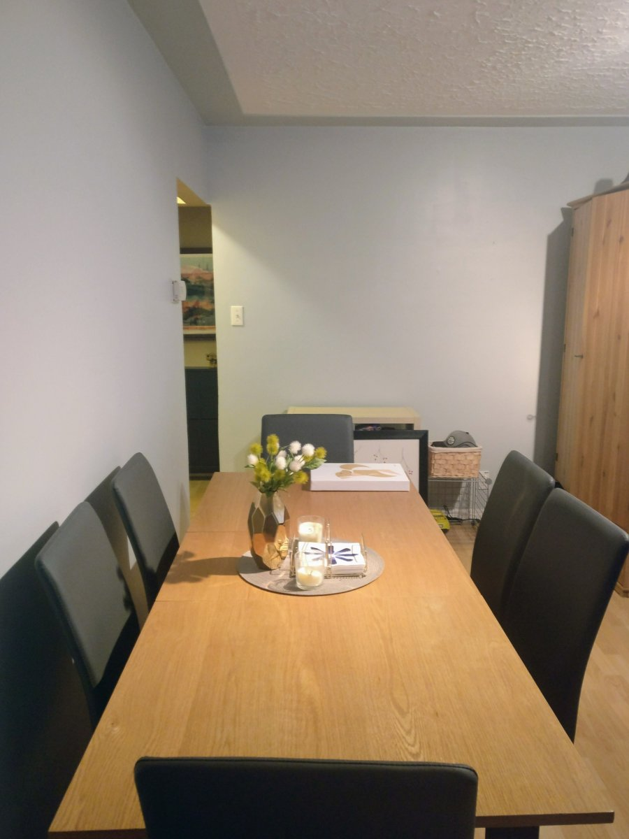A long CB2 dining table is pictured with gray leather Structube chairs in a room with light gray walls.